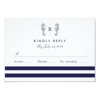Nautical Seahorse Monogram Wedding RSVP Card