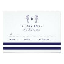 Nautical Seahorse Monogram Wedding RSVP Card