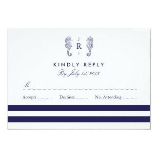 Nautical Seahorse Monogram Wedding RSVP Invites