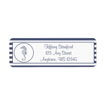 Beach Themed Nautical Seahorse | Personalized Label