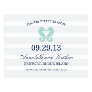 NAUTICAL SEAHORSE | SAVE THE DATE POST CARD
