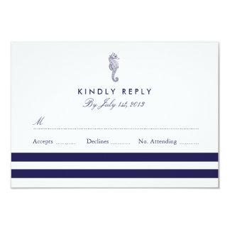 Nautical Seahorse Wedding RSVP 3.5x5 Paper Invitation Card