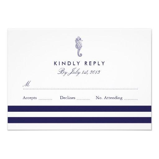 Nautical Seahorse Wedding RSVP Invitations
