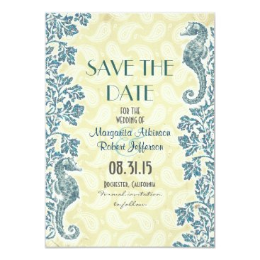 Beach Themed nautical seahorses save the date cards