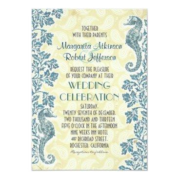 Beach Themed nautical seahorses wedding invitations