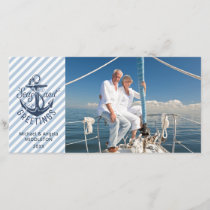 "Nautical ""Seas AND Greetings"" - Navy Anchor Holiday Card"