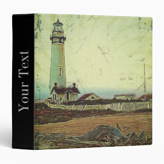 nautical seascape oil painting vintage lighthouse binder