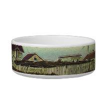 nautical seascape oil painting vintage lighthouse bowl