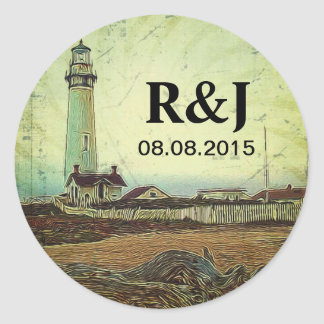 nautical seascape oil painting vintage lighthouse classic round sticker