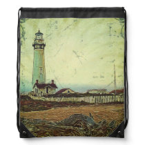 nautical seascape oil painting vintage lighthouse drawstring backpack