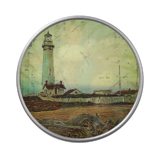 nautical seascape oil painting vintage lighthouse jelly belly candy tin
