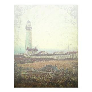 nautical seascape oil painting vintage lighthouse letterhead