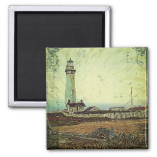 nautical seascape oil painting vintage lighthouse magnet
