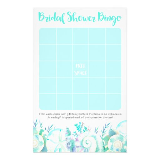 Nautical Seashell Bridal Shower Bingo Flyer
