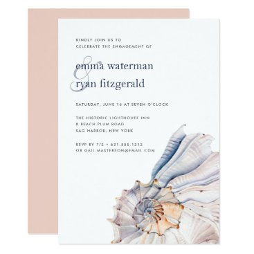 Beach Themed Nautical Seashell Engagement Party Invitation