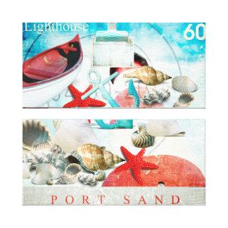 Nautical Seashells Anchor Starfish Beach Theme Gallery Wrapped Canvas