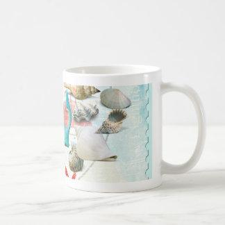 Nautical Seashells Anchor Starfish Beach Theme Coffee Mug