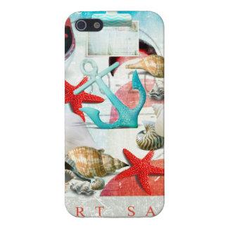 Nautical Seashells Anchor Starfish Beach Theme Cover For iPhone SE/5/5s