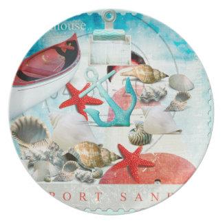 Nautical Seashells Anchor Starfish Beach Theme Dinner Plate