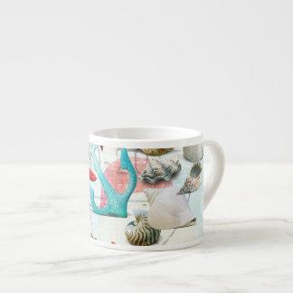 Nautical Seashells Anchor Starfish Beach Theme Espresso Cup