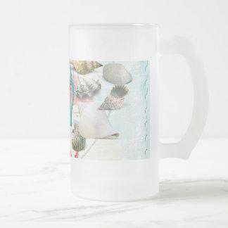 Nautical Seashells Anchor Starfish Beach Theme Frosted Glass Beer Mug