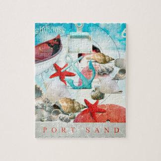 Nautical Seashells Anchor Starfish Beach Theme Jigsaw Puzzle