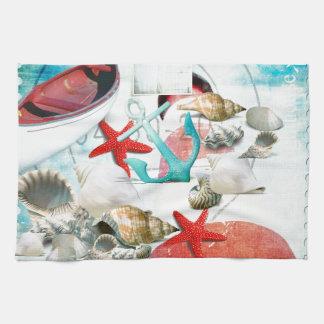 Nautical Seashells Anchor Starfish Beach Theme Towel