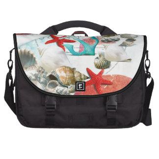 Nautical Seashells Anchor Starfish Beach Theme Laptop Bag