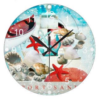 Nautical Seashells Anchor Starfish Beach Theme Large Clock