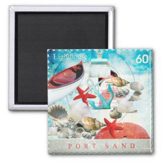 Nautical Seashells Anchor Starfish Beach Theme Refrigerator Magnets