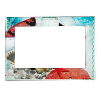 4 by 6-Inch PRINZ Boat Shaped Wood Frame in Distressed White Finish with Blue Anchor Attachment
