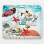 Nautical Seashells Anchor Starfish Beach Theme Mouse Pad