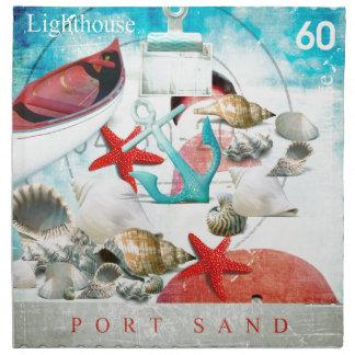 Nautical Seashells Anchor Starfish Beach Theme Napkin