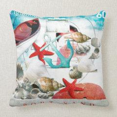 Nautical Seashells Anchor Starfish Beach Theme Pillows