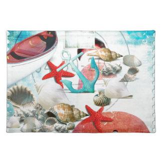 Nautical Seashells Anchor Starfish Beach Theme Placemat