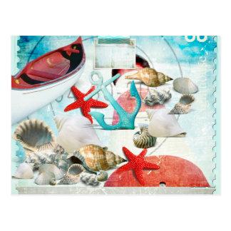 Nautical Seashells Anchor Starfish Beach Theme Postcard
