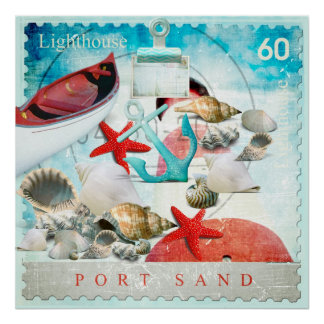 Nautical Seashells Anchor Starfish Beach Theme Poster