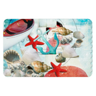 Nautical Seashells Anchor Starfish Beach Theme Rectangular Magnets