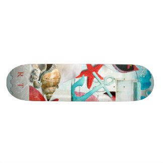 Nautical Seashells Anchor Starfish Beach Theme Skateboard Deck