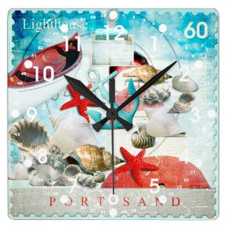 Nautical Seashells Anchor Starfish Beach Theme Square Wall Clock