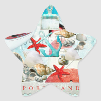 Nautical Seashells Anchor Starfish Beach Theme Star Sticker