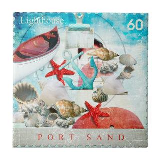 Nautical Seashells Anchor Starfish Beach Theme Tile