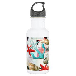 Nautical Seashells Anchor Starfish Beach Theme Water Bottle