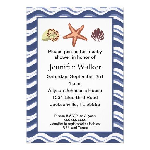 nautical seashells baby shower 5 x 7 invitation card zazzle