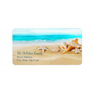 Nautical Seashells & Beach 2 - Template Label