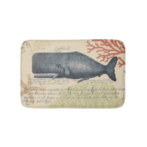 Nautical Seaside Vintage Blue Whale Collage Bath Mat