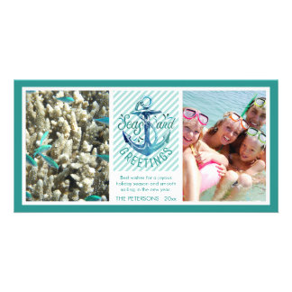 "Nautical ""SEAson's Greetings"" - Aqua Stripes Card"