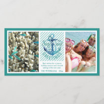 "Nautical ""SEAson's Greetings"" - Aqua Stripes Holiday Card"
