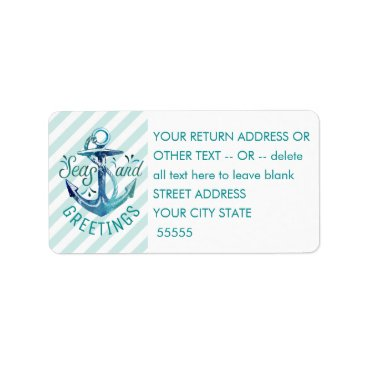 "Beach Themed Nautical ""SEAson's Greetings"" Aqua Stripes Label"