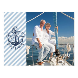 Nautical SEAson's Greetings, Navy Anchor--2 Photos Postcard